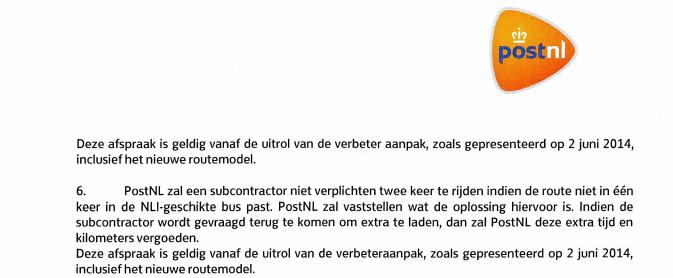 PostNL zal vervoerder niet 2 x verplichten te rijden mits….